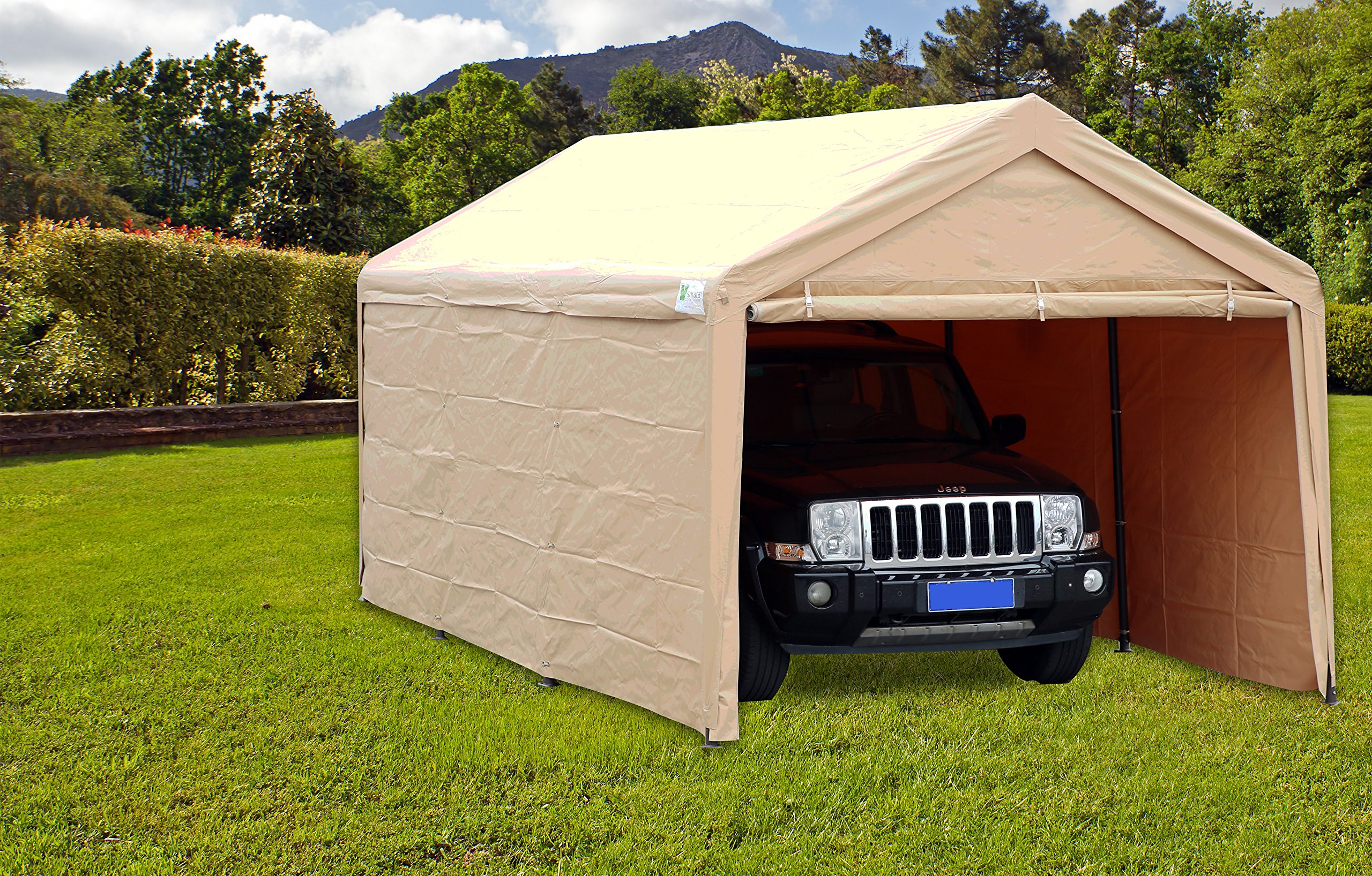 SORARA Carport 10' x 20' Heavy Duty Outdoor Car Canopy Garage Storage Shelter with Detachable Sidewalls, Beige by SORARA