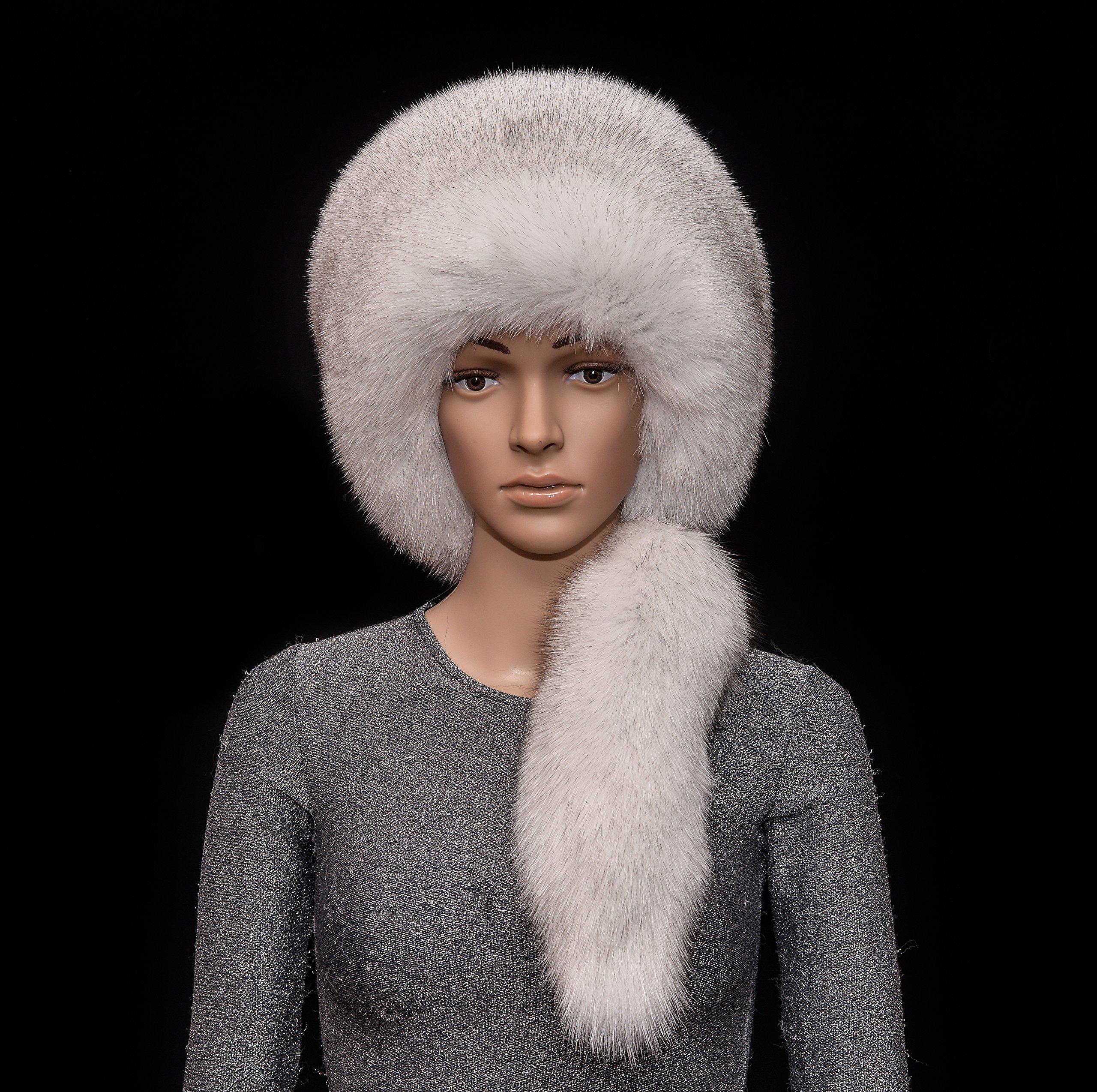 Saga Furs Natural Blue Fox Fur Handmade Beanie Beret Bucket Hat + Tail