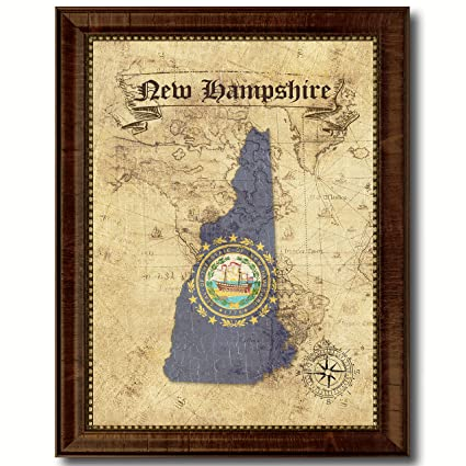 Amazon.com: New Hampshire State Vintage Flag Canvas Print with ...