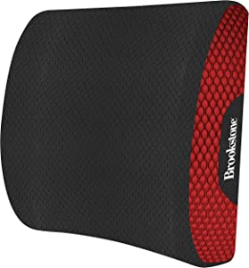 Brookstone BK1201 - Luxurious Lumbar Support Pillow for Car or Office Chair, Back Cushion with Premium Grade Memory Foam, Breathable and Washable Cover, Adjustable Strap, Red
