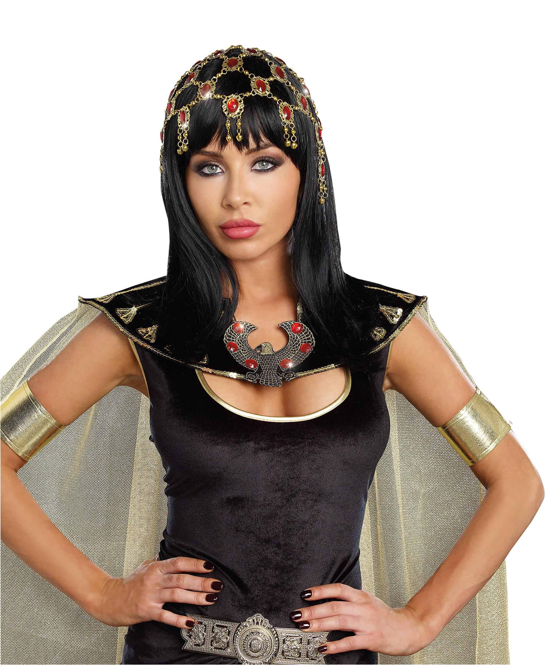 Dreamgirl Women's Sexy Costume Goddess Accessory, Dazzling Ruby Headpiece, Red/Gold, One Size