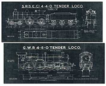 Amazon black and white train blueprint panels by wild apple black and white train blueprint panels by wild apple portfolio two 20x8in unframed paper posters malvernweather Gallery