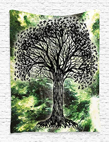 Ambesonne Tree of Life Mandala Forest Tapestry Hippie Design Digital Printed Wall Hanging Wall Tapestry Living Room Bedroom Dorm Decor, Green Black White