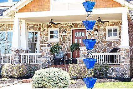 Tfro /& Cile Rain Chain Gutter Downspout Substitution Decorative Garden Rainwater Diverter Home Decor 8 1//2 Feet Long Blue Grid