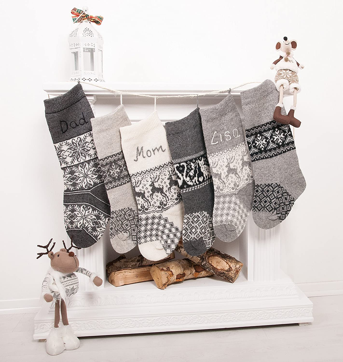 Rustic Christmas stockings personalized optional knit wool