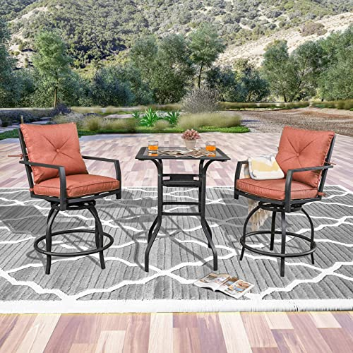 LOKATSE HOME 3 Piece Outdoor Patio Bistro Swivel Bar 2 Stools and 1 Glass Top Table, Red Cushions-Set