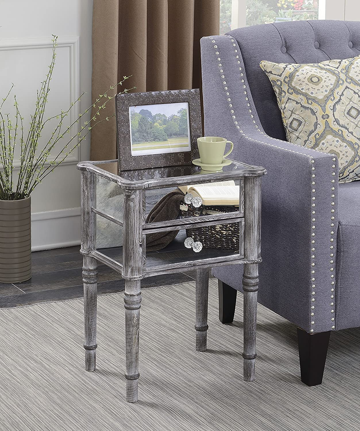 Convenience Concepts Gold Coast Collection Mayfair Mirrored End Table, Weathered Gray