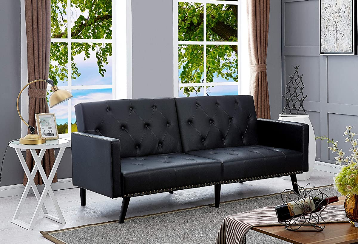 Naomi Home Convertible Tufted Futon Sofa Black/Faux Leather
