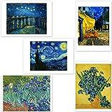 インテリア 絵画 ポスター ゴッホ 『5枚セット(夜のカフェテラス ローヌ川の星月夜 など)』 A4サイズ