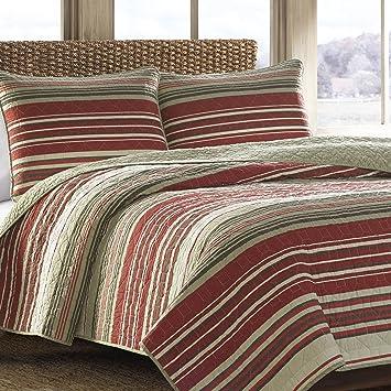 Amazon.com: Eddie Bauer Yakima Valley Cotton Quilt Set, King, Red ... : red cotton quilt - Adamdwight.com