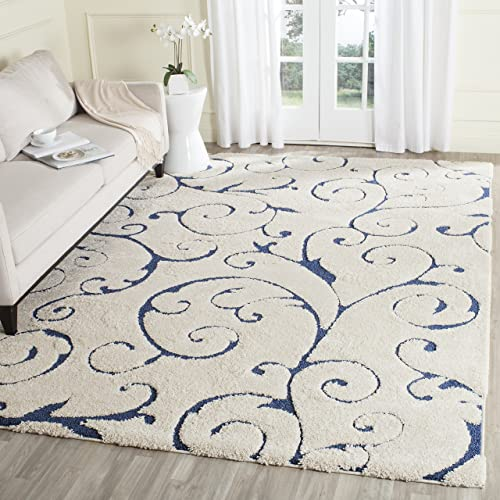 Safavieh Florida Shag Collection SG455-1165 Scrolling Vine Cream and Blue Graceful Swirl Area Rug 8 x 10