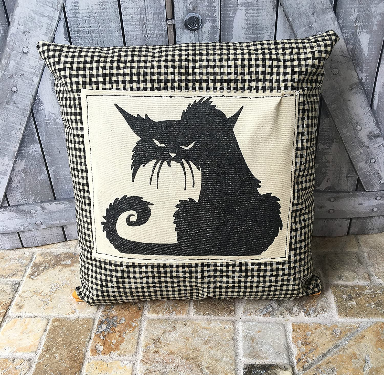 Black Cat Pillow, Halloween Cat Pillow,Vintage Halloween Pillow, Halloween Decoration, Fall Decor, Halloween Decor,Primitive Halloween