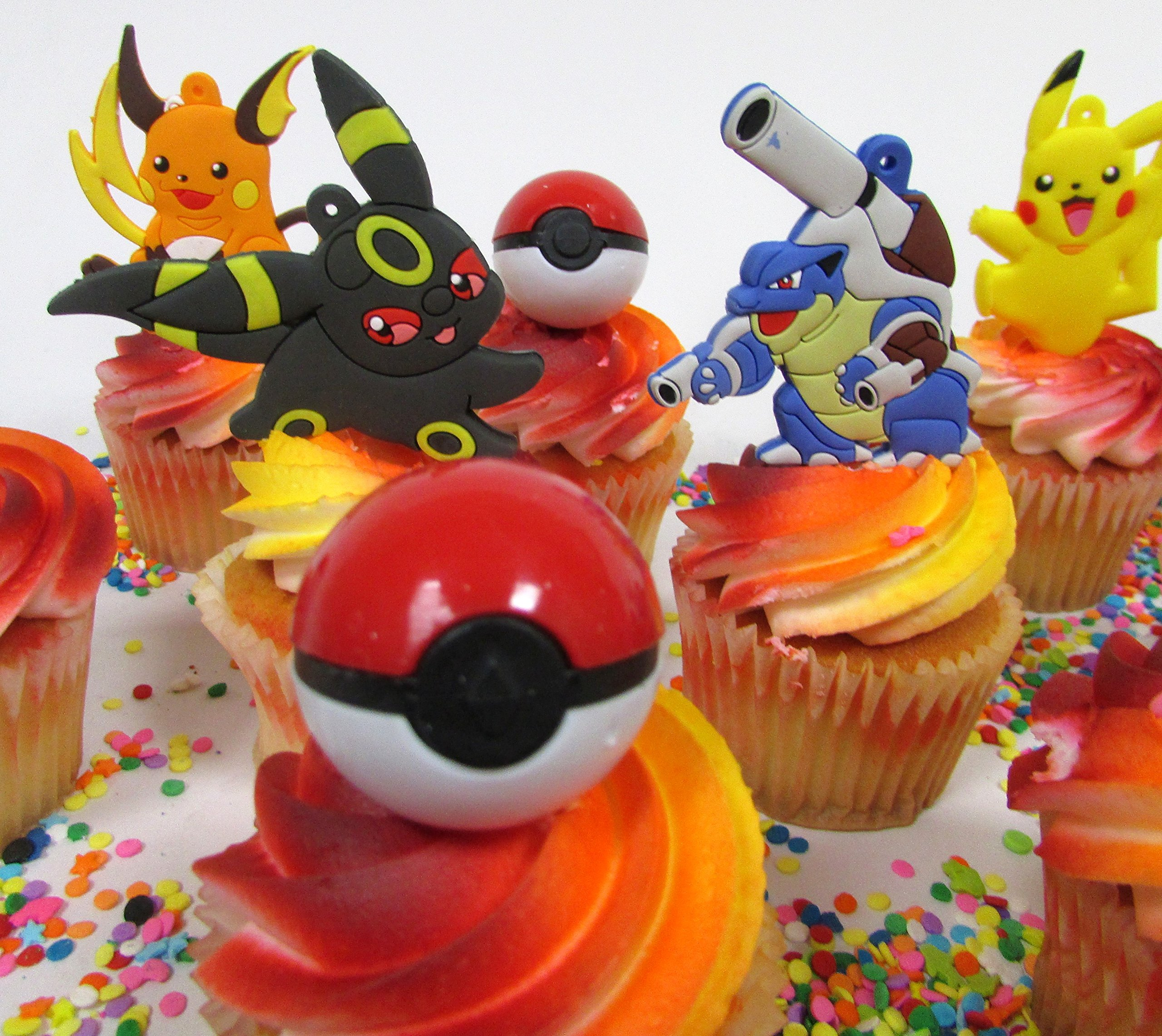 Pikachu and Friends Cupcake Topper Set with 6 Random Pocketmonster Characters and 6 Poke Balls by Cupcake Topper (Image #7)