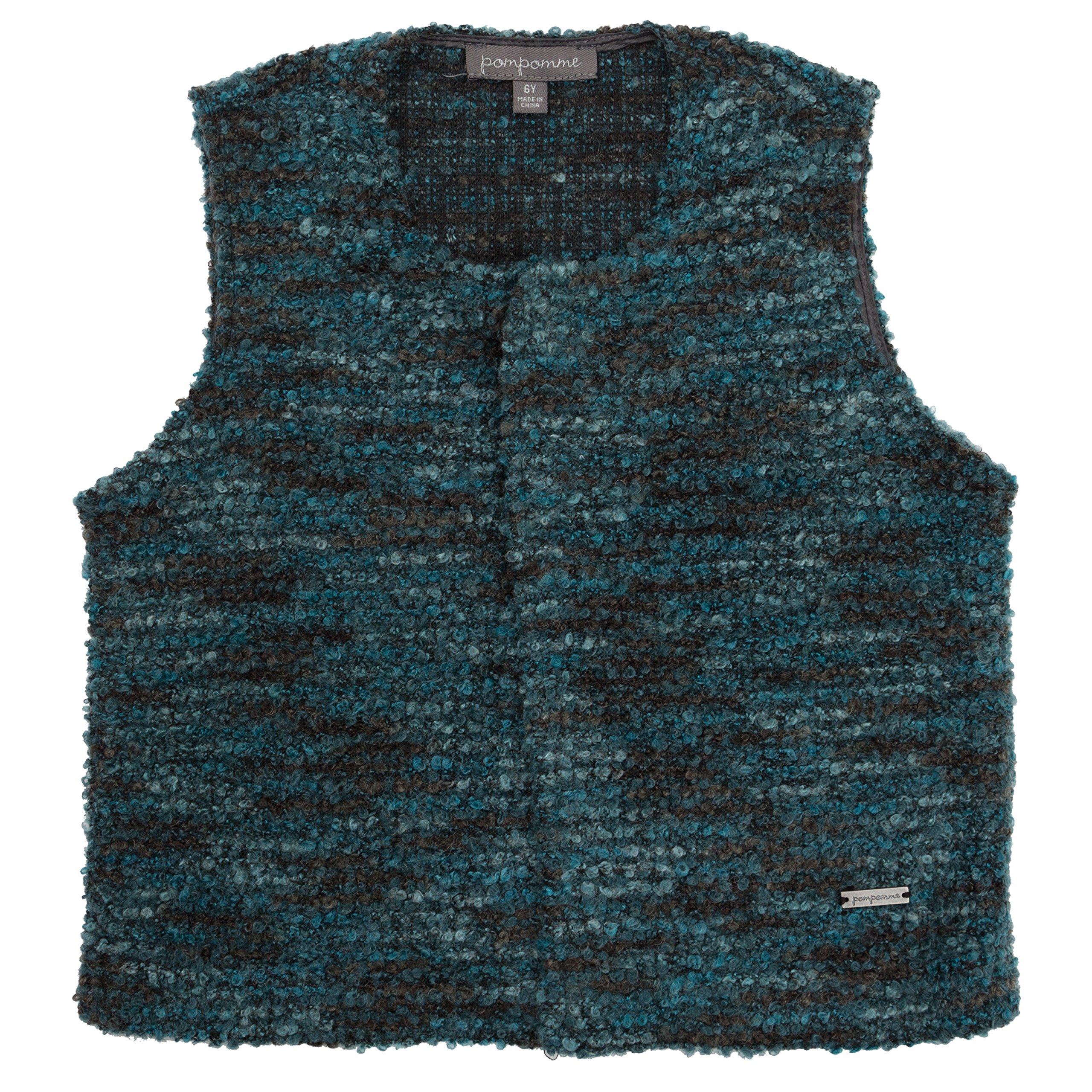 Pompomme Boy's Round Neck teal knit sweater vest w/snap closure (4 Yr)