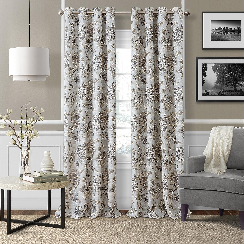"Elrene Home Fashions Room Darkening Grommet Linen Single Panel Window Curtain Drape, 52""x84"", Natural"
