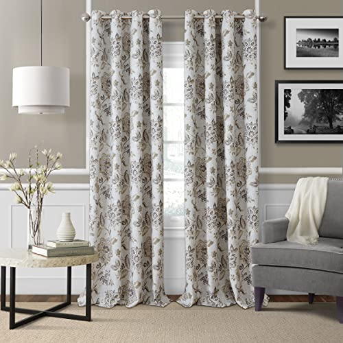 Elrene Home Fashions Jacobean Floral Room Darkening Single Panel Window Curtain Drape, 52 x95 , Natural