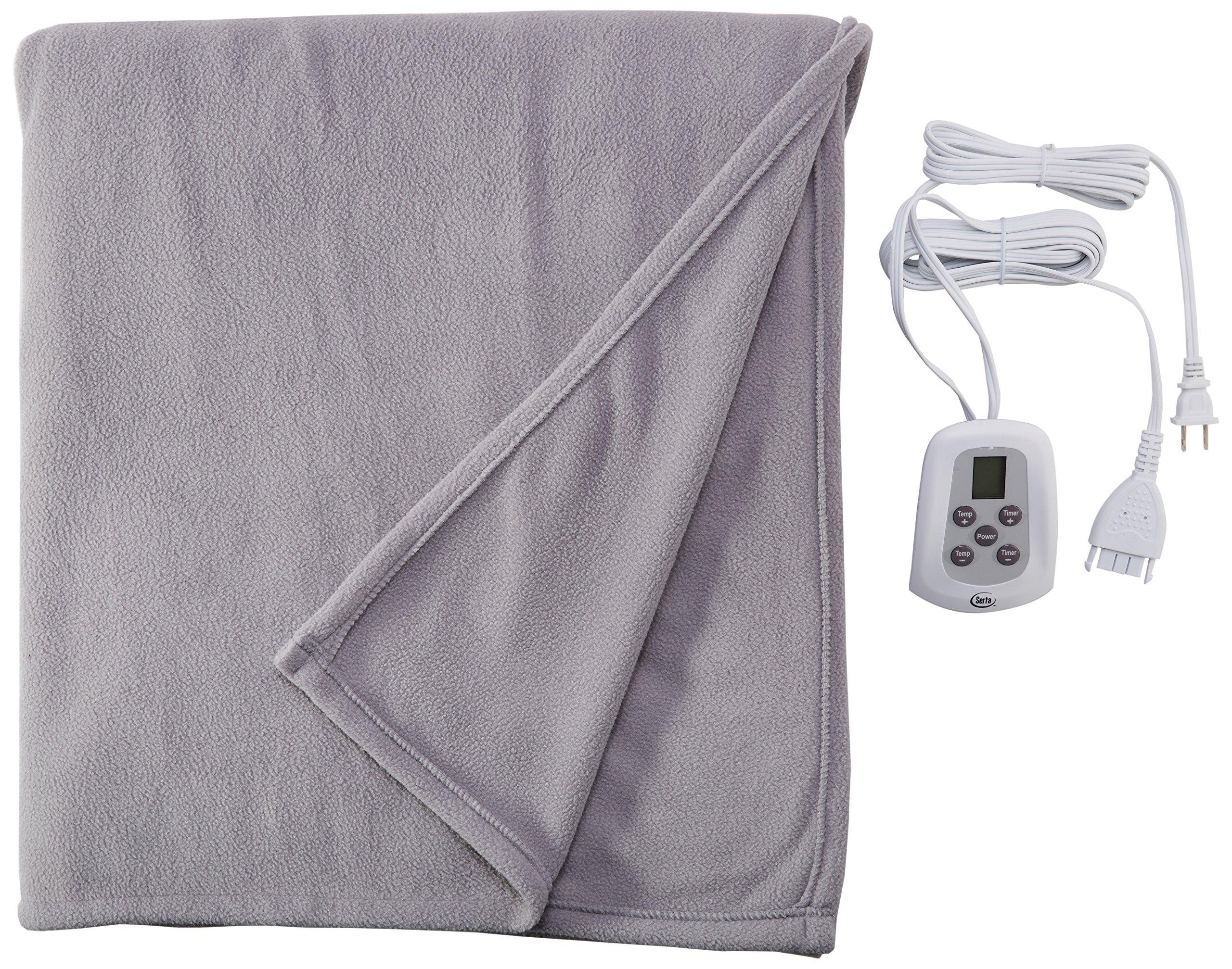 Serta 856771 Heated Eletric Fleece Blanket - with Programmable Digital Controller, Gray, King