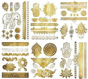 Terra Tattoos Metallic Henna Temporary Tattoos - 75 Gold Temp Tattoos