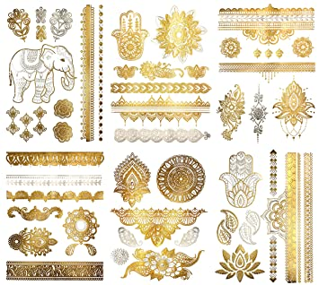 Amazon Com Metallic Henna Mandala Temporary Tattoos Over 75