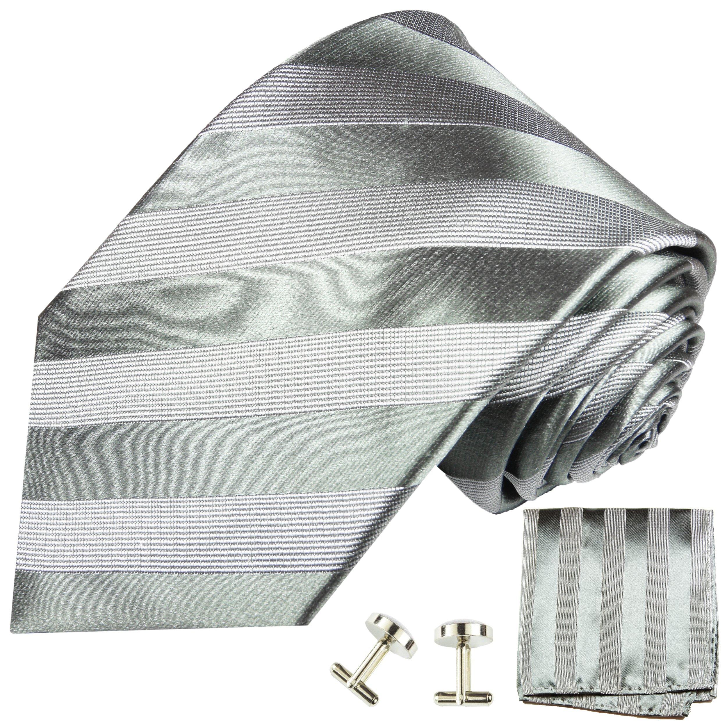Extra Long Silk. Tie, Handkerchief and Cufflinks, Gray
