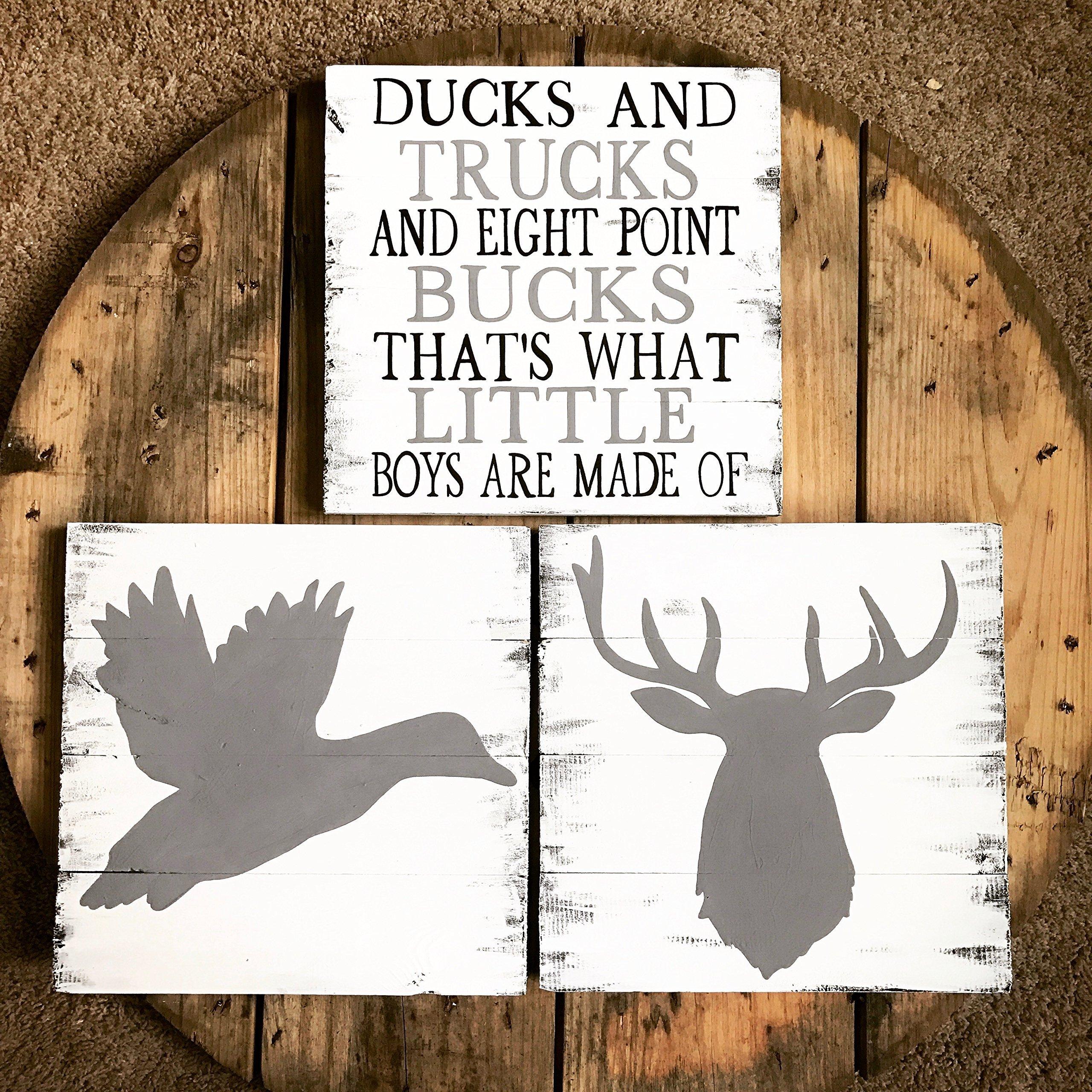 14x14 Set of 3 Ducks and Trucks and Eight point Bucks signs, Boys decor, Deer Head Sign, Hunting Decor