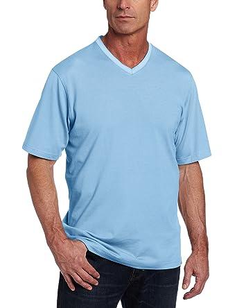 Van Heusen Mens Short Sleeve V-Neck Micropoly Feeder Polo, Blue ...
