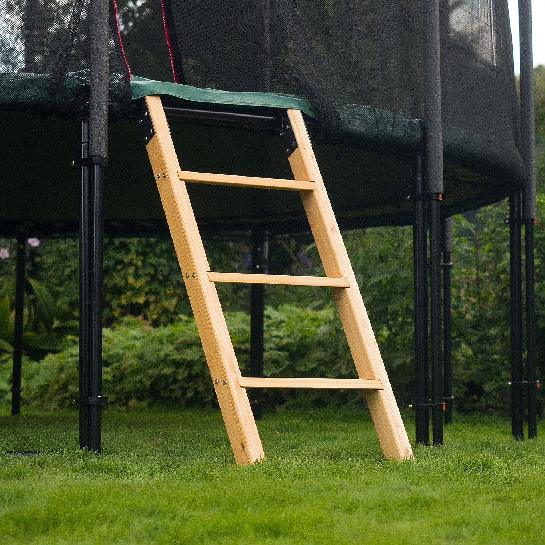 Ampel 24, Escalera de Madera alerce para Camas elásticas   con 3 escalones Anchos   Escalera de 110 cm: Amazon.es: Deportes y aire libre
