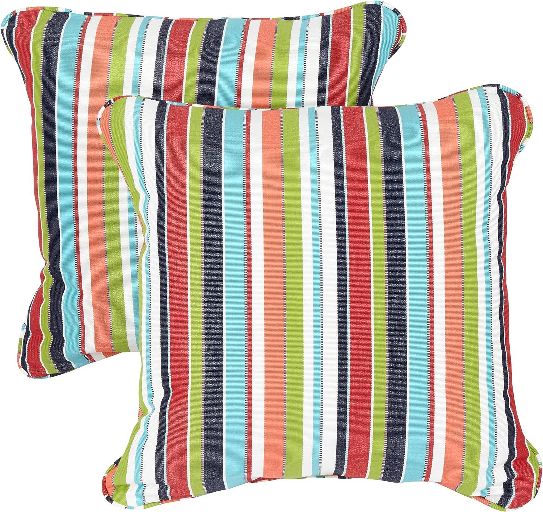 Mozaic Company Sunbrella Indoor Outdoor 16-inch Corded Pillow, Carousel Confetti, Set of 2