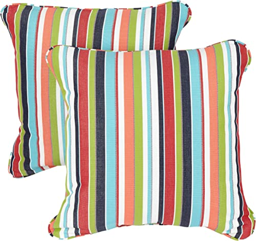 Mozaic Company Sunbrella Indoor Outdoor 20-inch Corded Pillow, Carousel Confetti, Set of 2