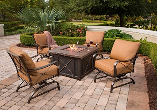 Hanover SUMMRNGHT5PC-ALUM Summer Nights 5 Piece Fire Pit Lounge Set Outdoor Furniture