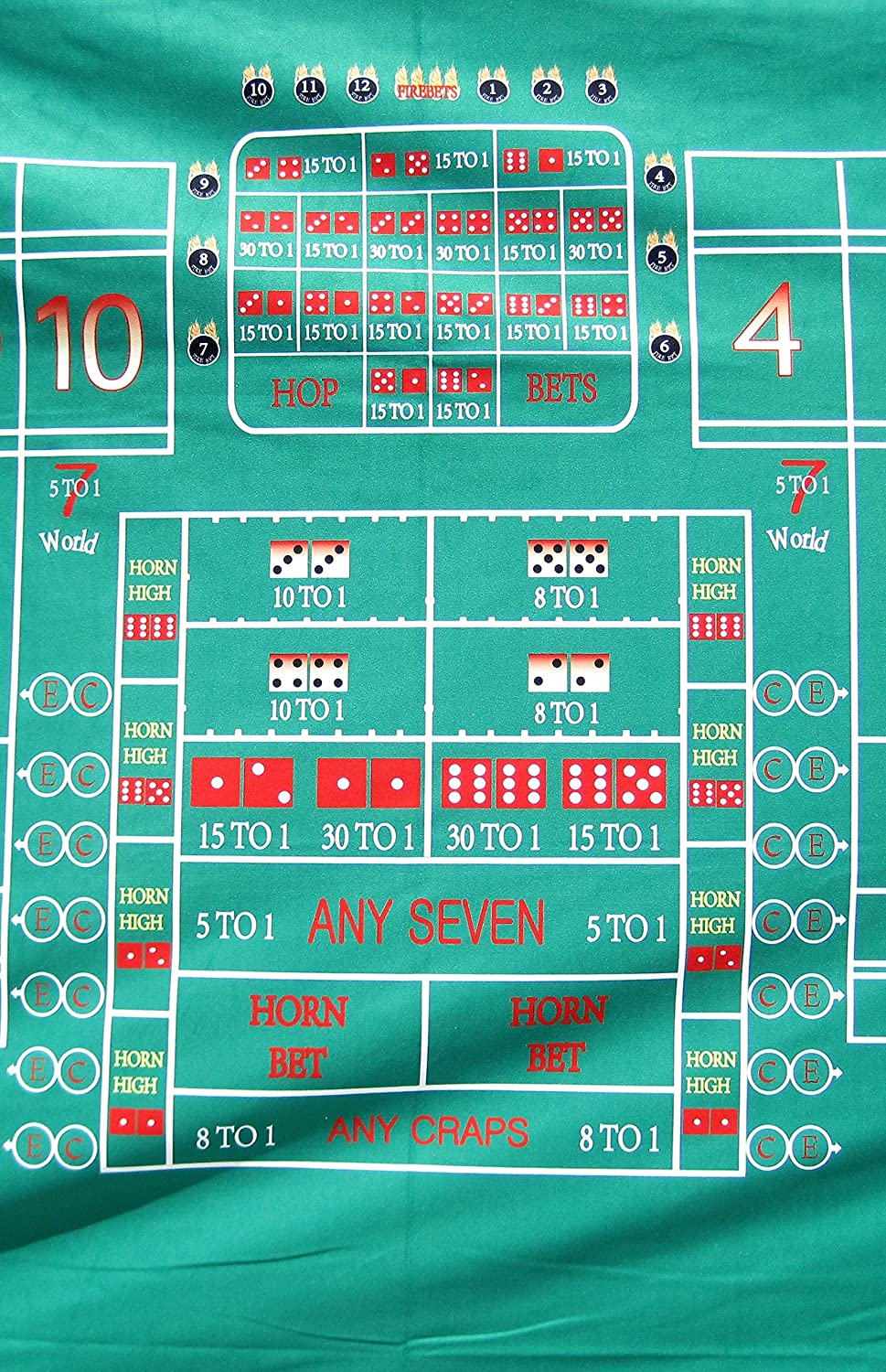 Synthetic Polyester Felt Casino Style Craps Layout 8 Ft