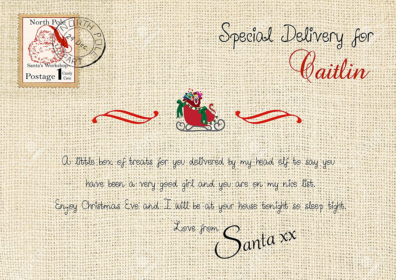 Personliased A4 Christmas Sign for your Christmas Eve Box: Amazon.co ...