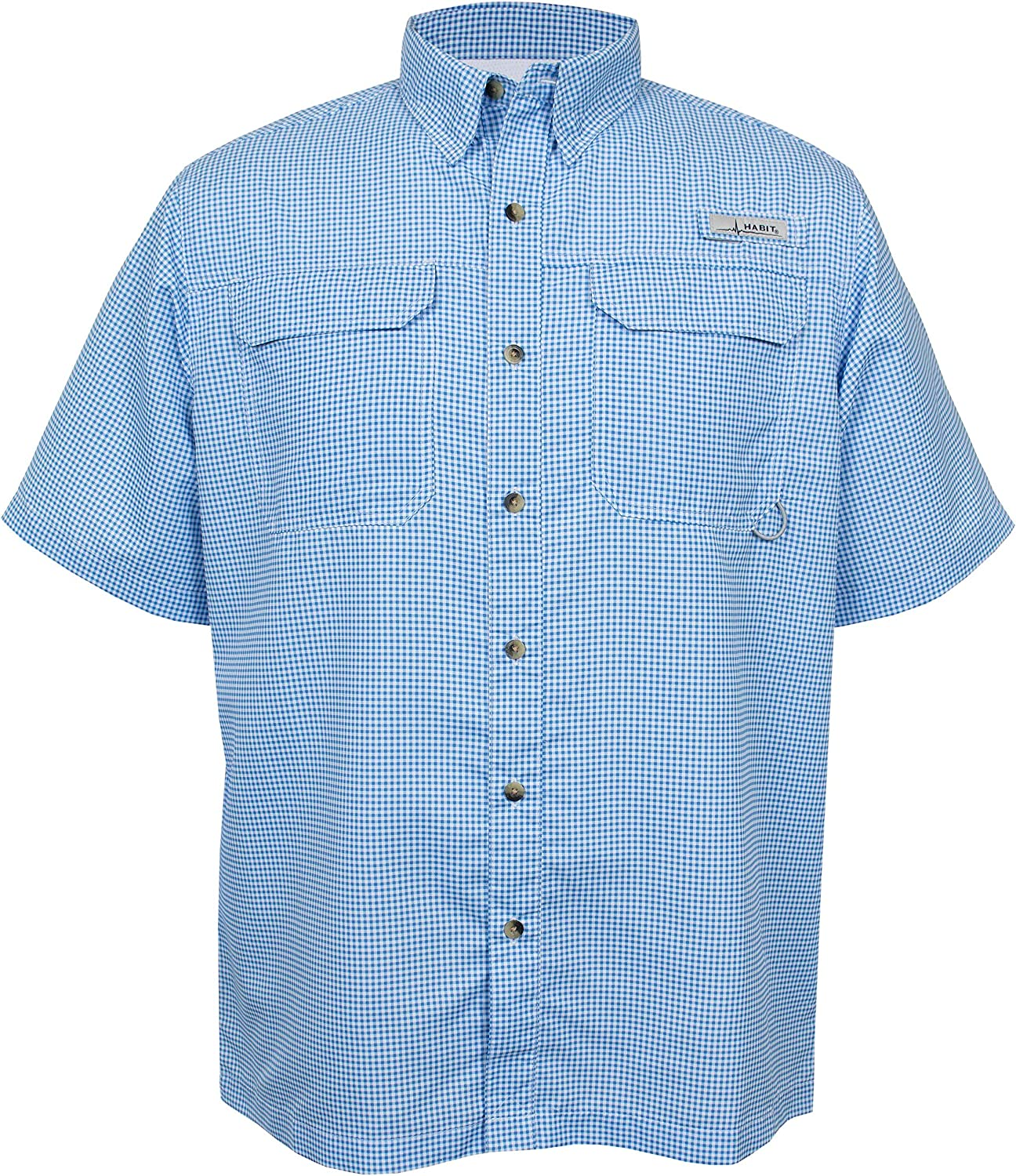 HABIT Men's Short Sleeve Fishing Guide Shirt, Bahama Blue Check, Small