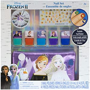 Townley Girl Frozen 2 Peel- Off Nail Polish Activity Set for Girls, Ages 3+ With 5 Nail Polish Colors, 240 Nail Gems, and Bag for Parties, Sleepovers and Makeovers