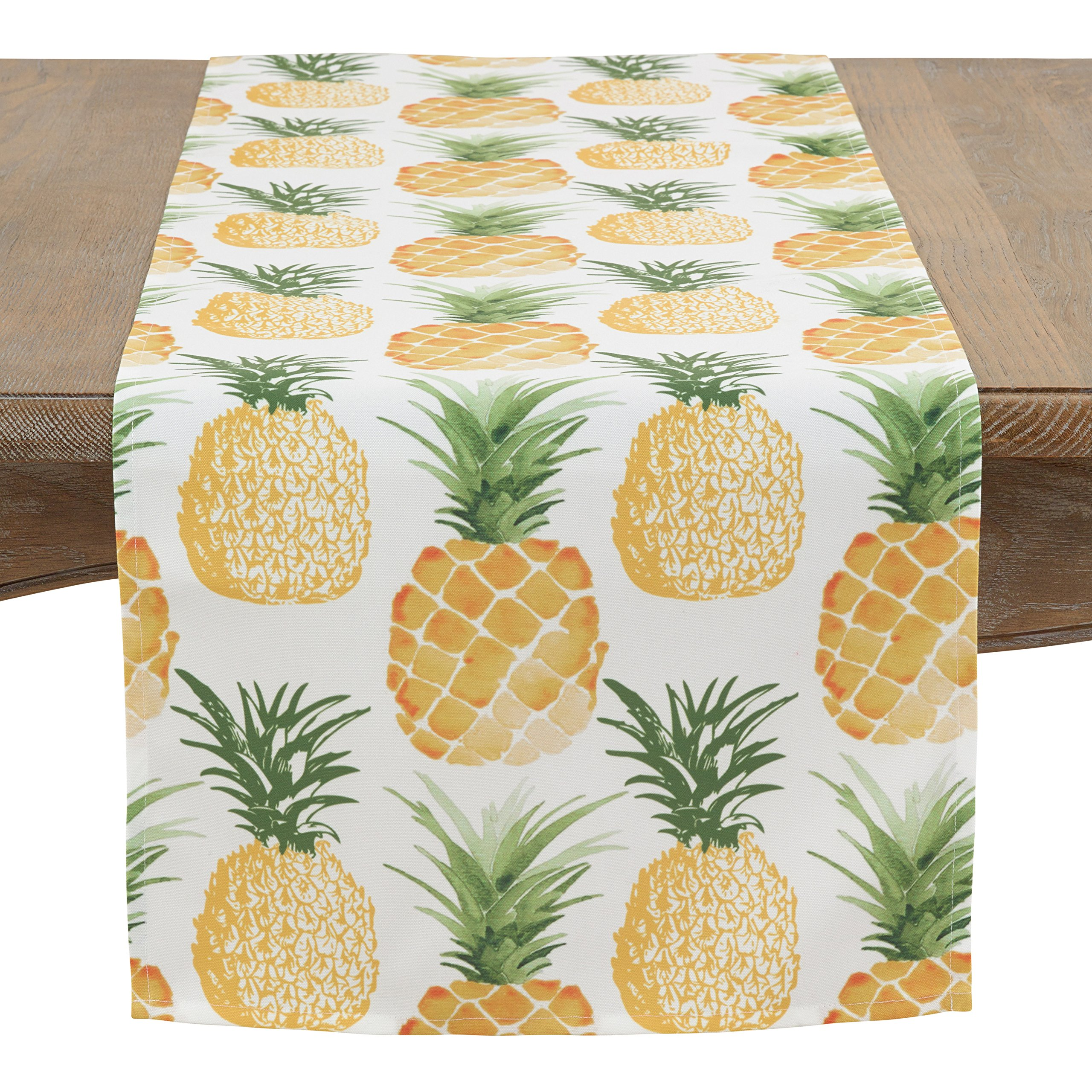 SARO LIFESTYLE Pineapple Collection Table-Toppers, 16'' x 72'', Multi by SARO LIFESTYLE
