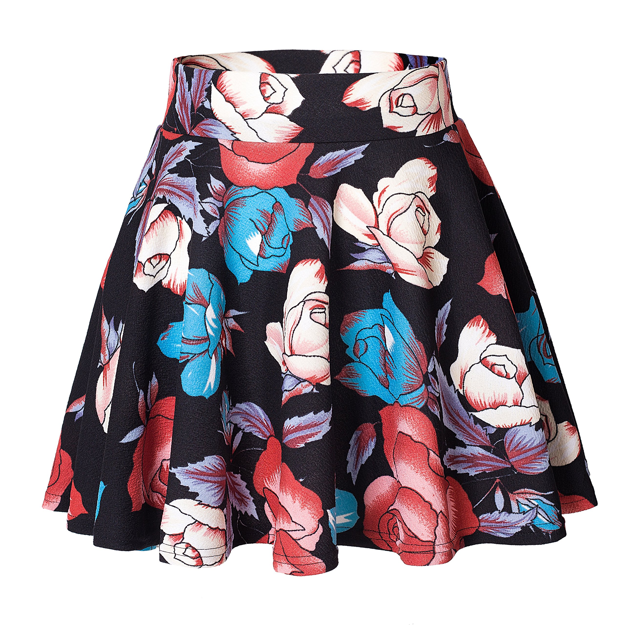 Urban CoCo Women's Basic Versatile Stretchy Flared Casual Mini Skater Skirt (L, 7)