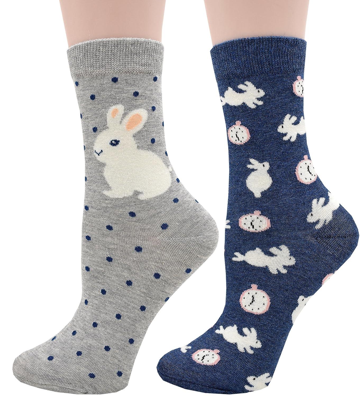 Carahere Women's Cotton Animal Print Patterned Soft Fun Crew Socks ZXHAT00019-sheep-4R