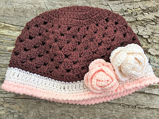 435f3b71b63 Amazon.com  Baby Hat. Baby Floral Hat. Crocheted Australian Wool Hat for  3-6 Months Old Baby  Handmade