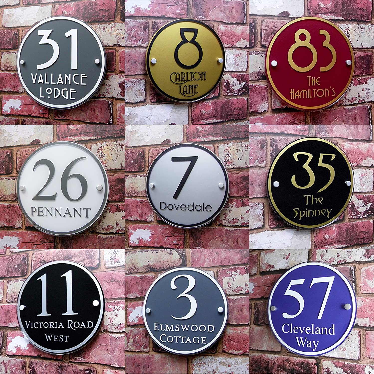 Modern House Sign Adress Plaque Door Number Name Plate Personalised