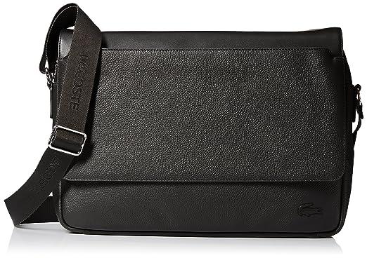 Amazon.com: Lacoste Men's Rafael Leather Messenger Bag, Black ...