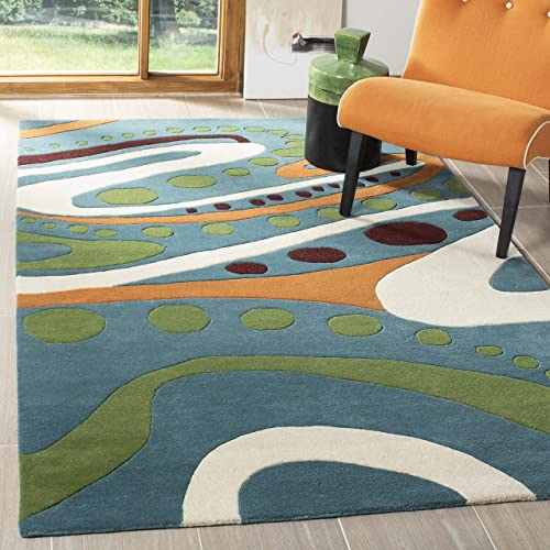 Safavieh Soho Collection SOH856A Handmade Abstract Teal and Multi Premium Wool Area Rug 7 6 x 9 6