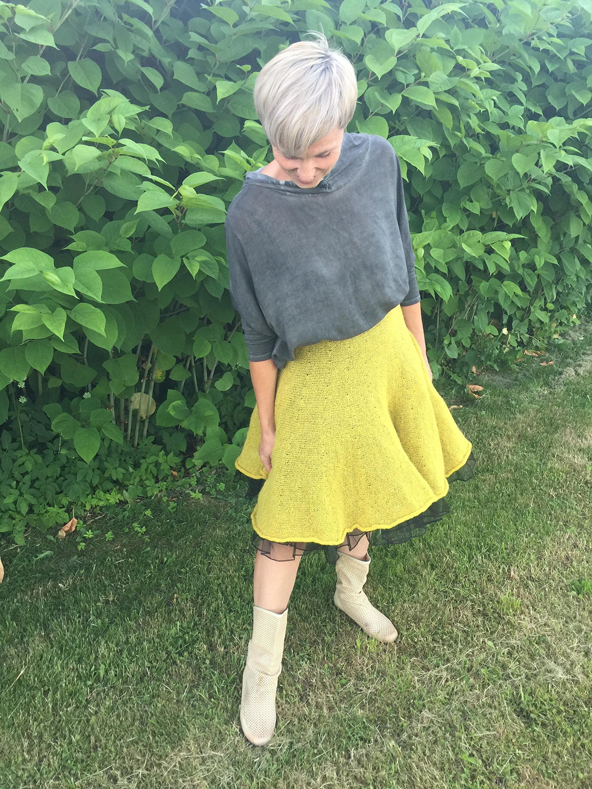 Knitted yellow mohair skirt