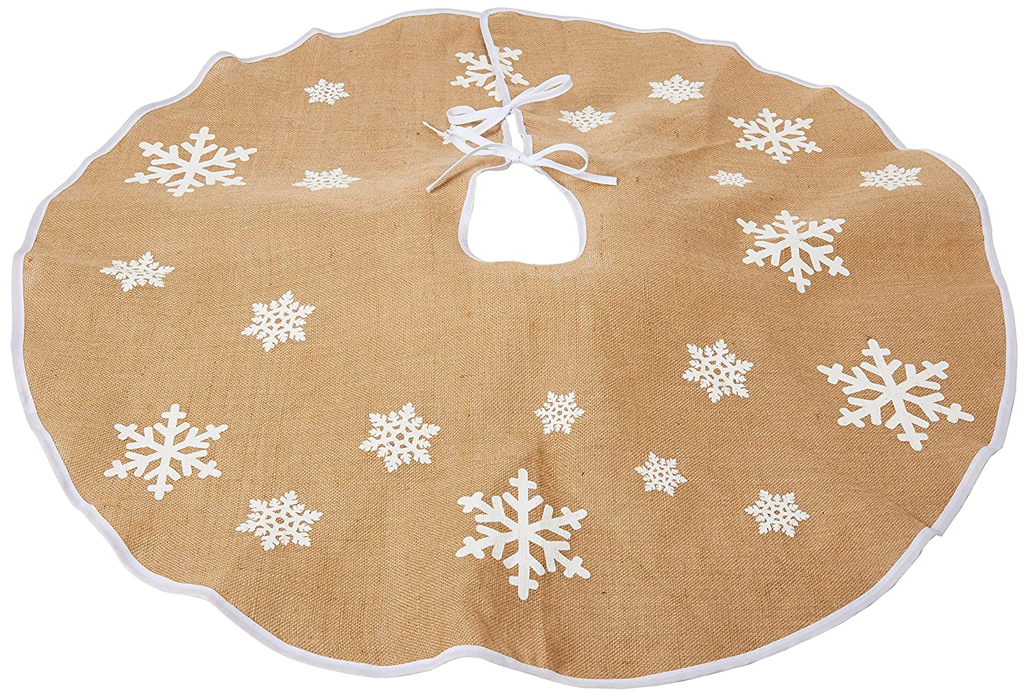 Aytai Christmas Tree Skirt 48 inches Xmas Burlap Tree Skirt White Snowflake Printed Christmas Decorations Indoor Outdoor
