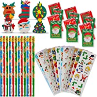 Favonir Christmas Stationary Party Favor Collection 48 Set - Holiday Themed Kids Prizes – Pencils – Notebooks – Assorted…