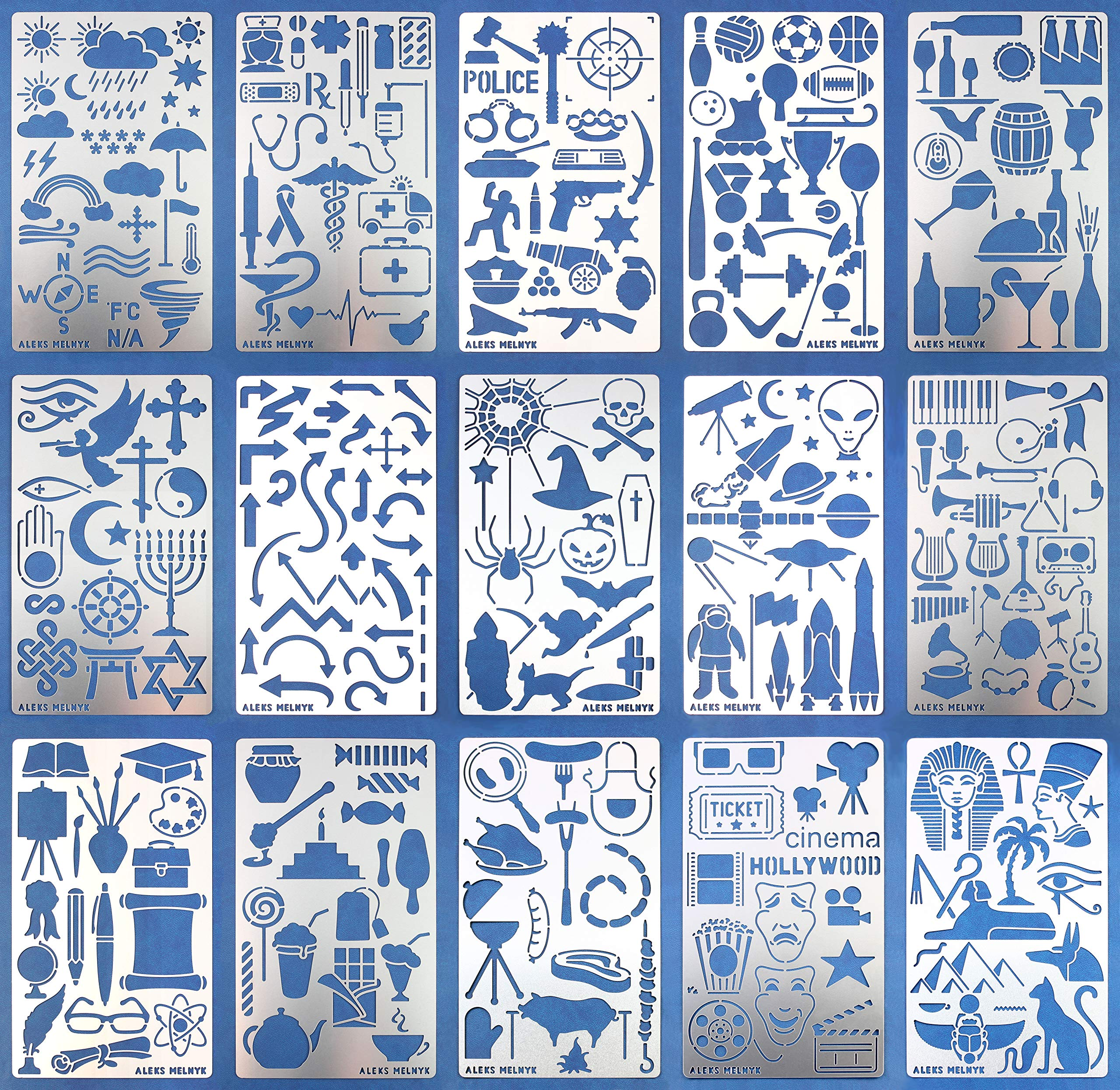 Aleks Melnyk #47 Large Set of Metal Journal Stencils/Stainless Steel Stencils Kit 15 PCS/Templates Tool for Wood Burning, Pyrography and Engraving/Scrapbooking/Crafting/DIY