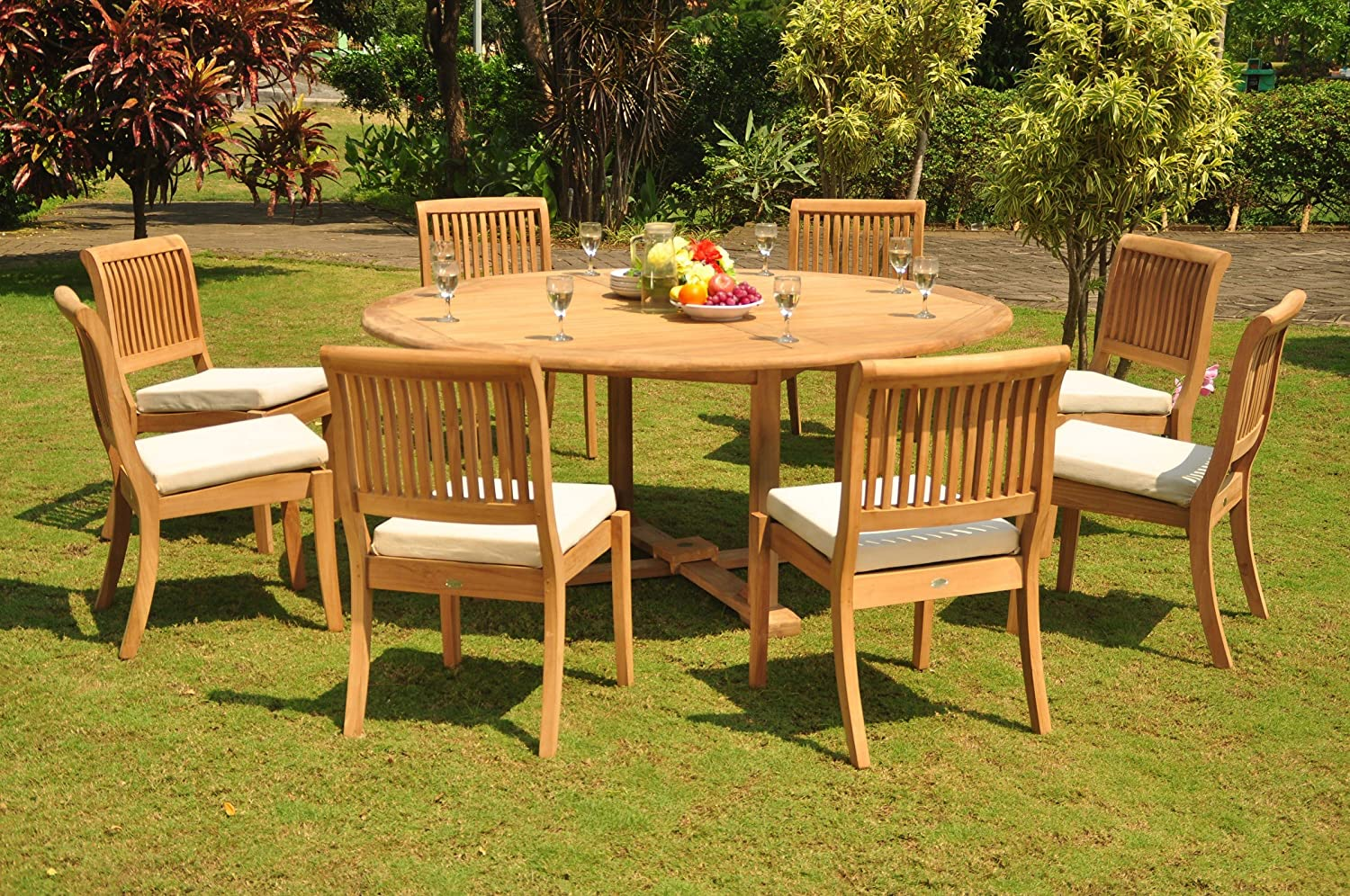 Amazon com wholesaleteak 9pc grade a teak wood dining set 72 round dining table 8 arbor stacking armless chairs whdsab59 garden outdoor