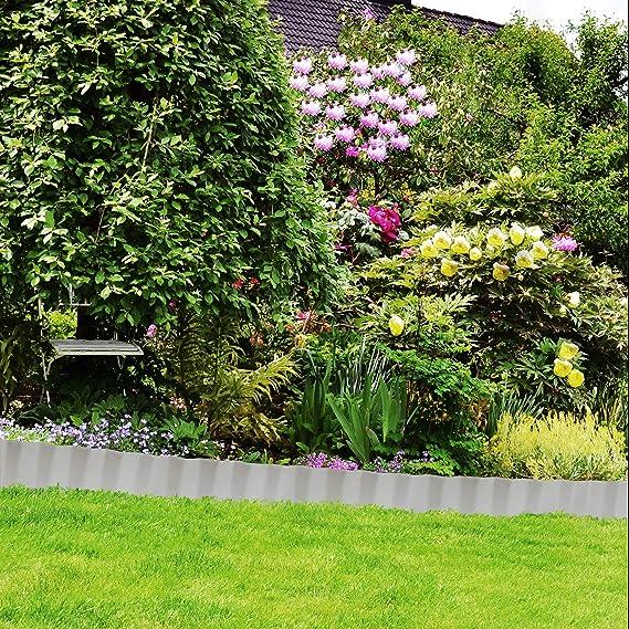 Relaxdays, Plata Borde delimitador de jardín, Separador de Metal ...