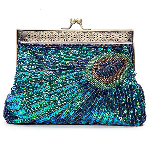 Kisschic Bolsa Bolso Pavo Real Retro Antigua de la Clutch Fiesta