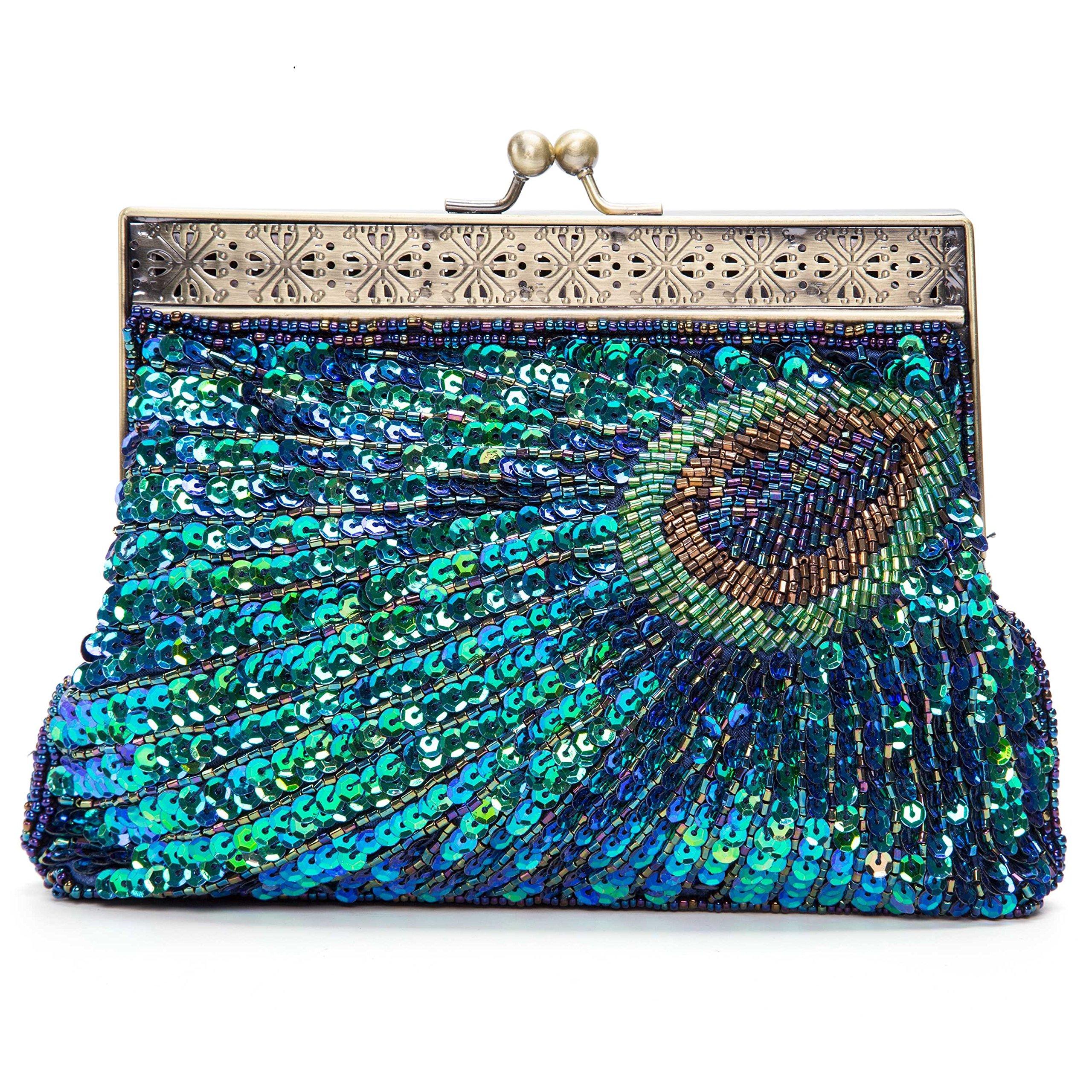 Kaever Women's Retro Beaded Sequins Peacock Clutch Evening Bag Wedding Handbag (Navy Blue)