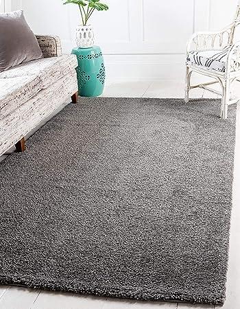 Amazon Com Unique Loom Solo Collection Plush Casual Gray Area Rug